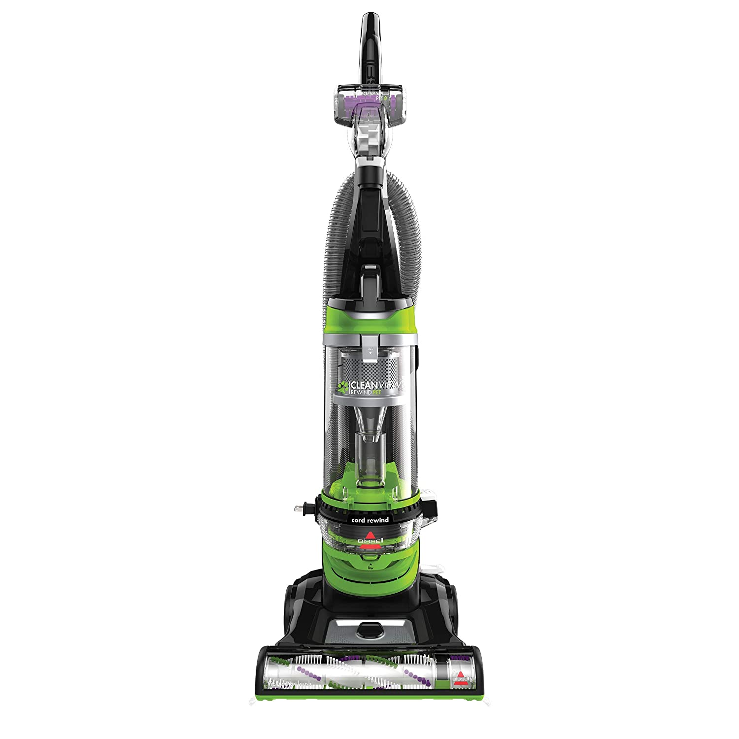 BISSELL Cleanview Rewind Pet Deluxe Upright Vacuum Cleaner, 24899, Green (Renewed)