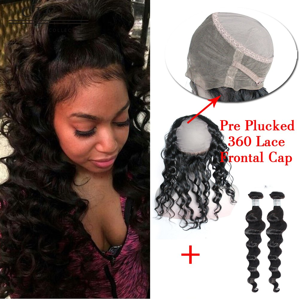 Cici Collection Pre Plucked 360 Lace Frontal Wig Cap With Bundle Brazlian 360 Lace Virgin Hair Body Wave 360 Frontal With Bundles Natural Hairline (16 18 With 14, Loose Wave)