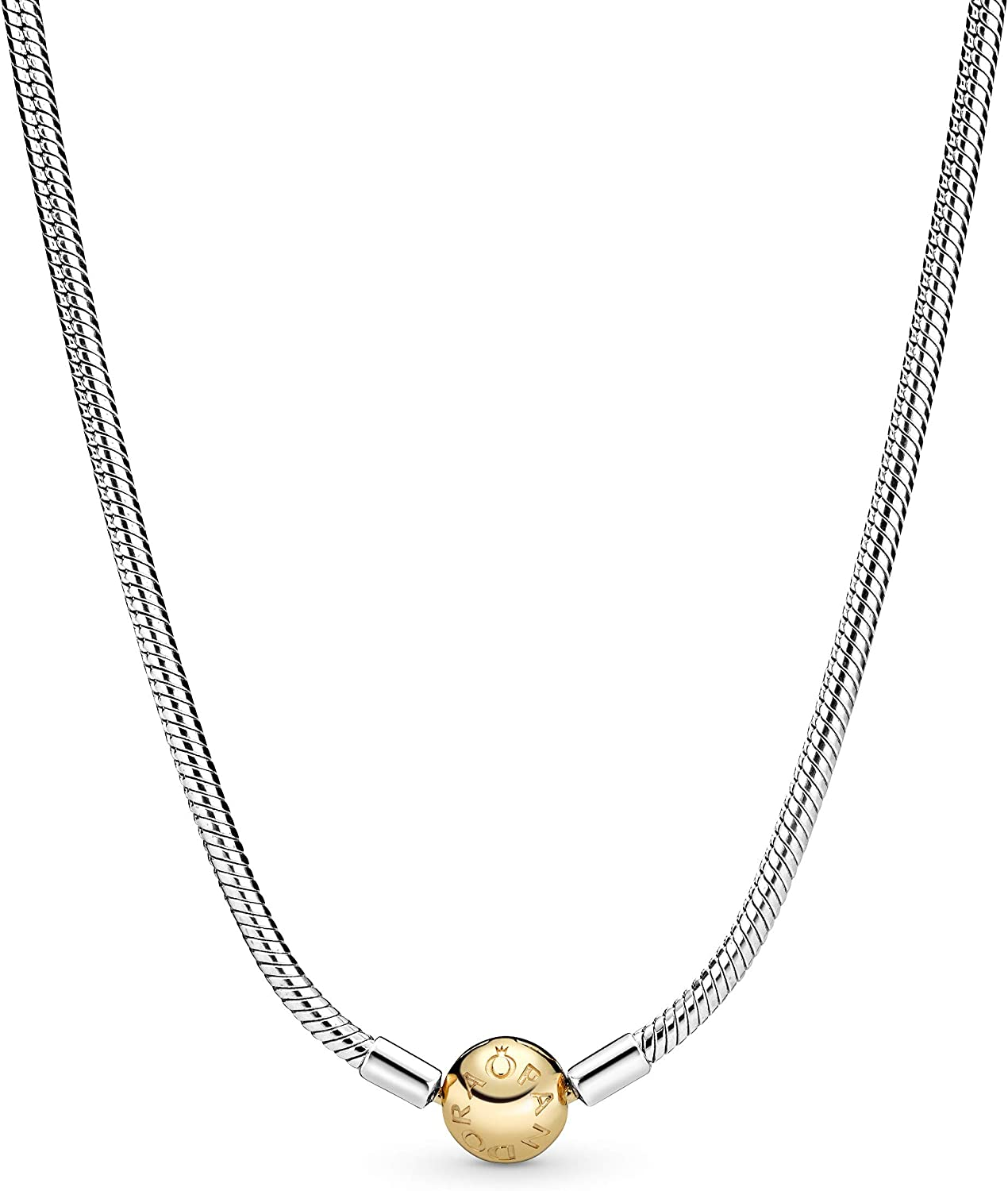Pandora Jewelry Iconic Snake Chain Sterling Silver and 14K Yellow Gold  Necklace, 17.7
