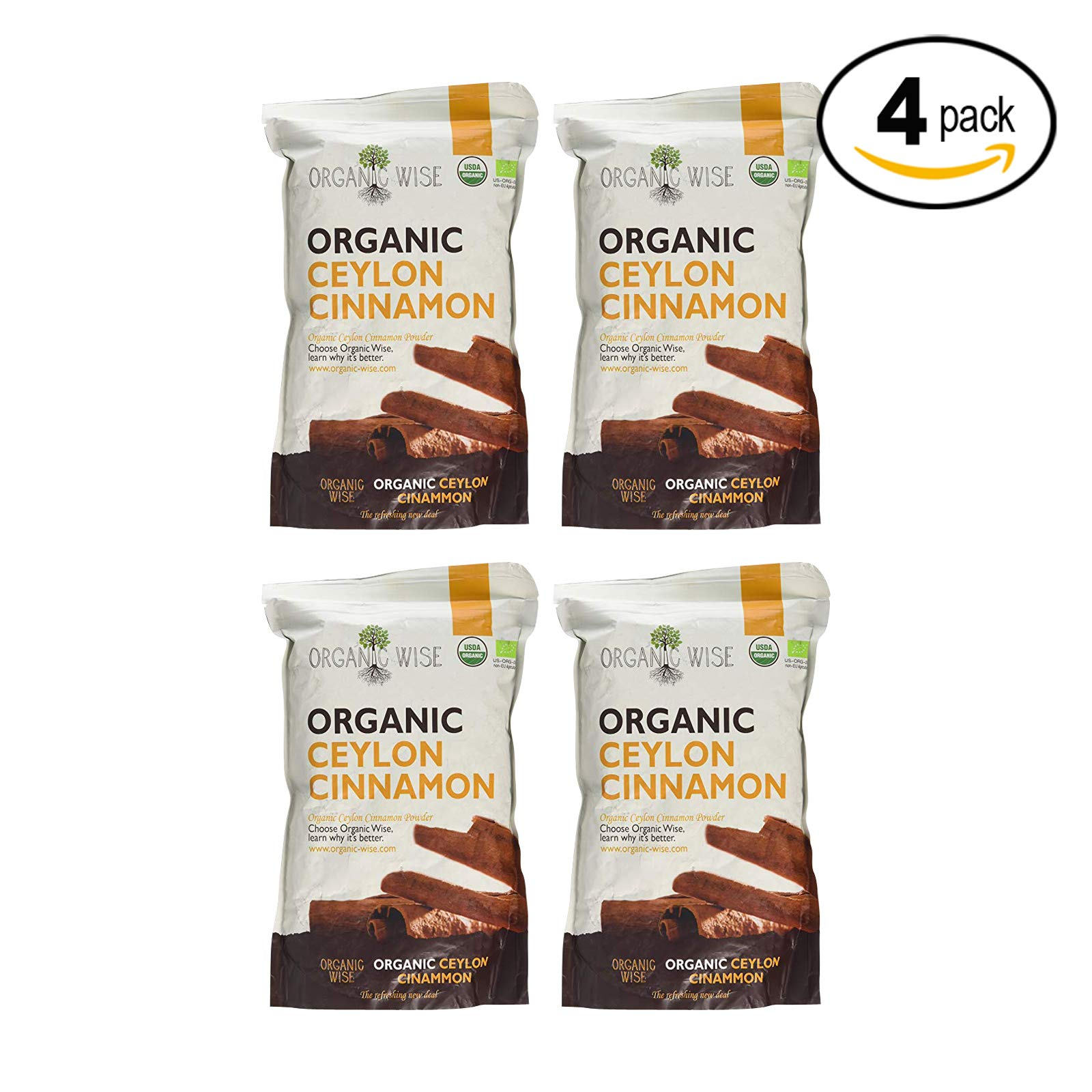 Organic Wise Ceylon Cinnamon Ground Powder, 1 lb-From a USDA Certified Organic Farm and Packed In The USA-4 Pack Bundle