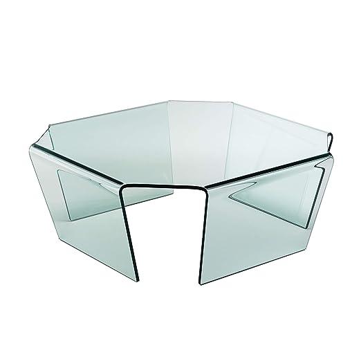 Qriosa Stile Italiano Mod. Bridge Mesa bajo de Cristal Curvado ...