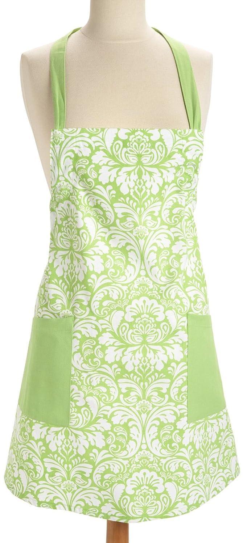 (Fresh Green) - Damask Printed Bib Apron Adult with 2 Front Pocket (Fresh green)  グリーン(Fresh Green) B06XQH83MM