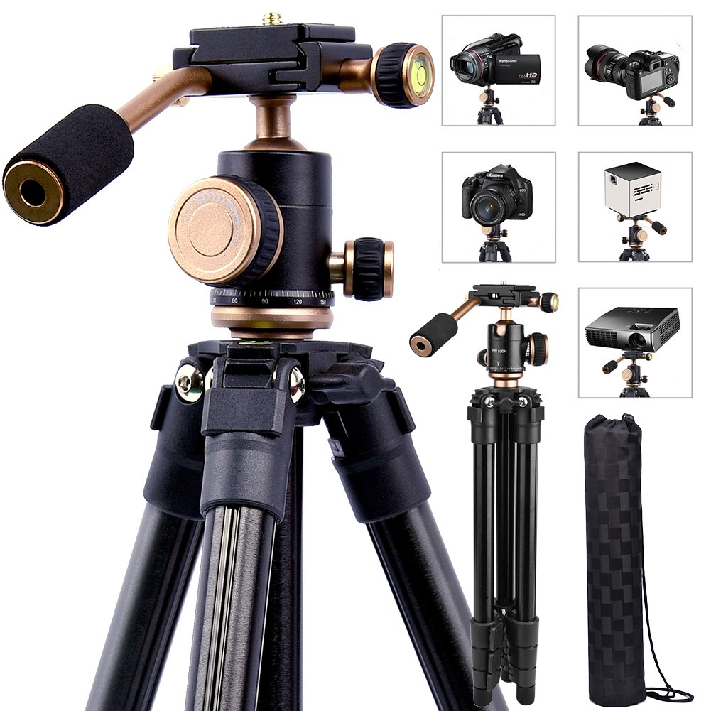 Lightweight DSLR Projector Stand, Portable Camera Tripod with 1/4 Screw,360°Panorama Ball Head, Quick Release Plate,Bubble Level,Handle and Carry Bag For Canon Nikon Olympus Sony