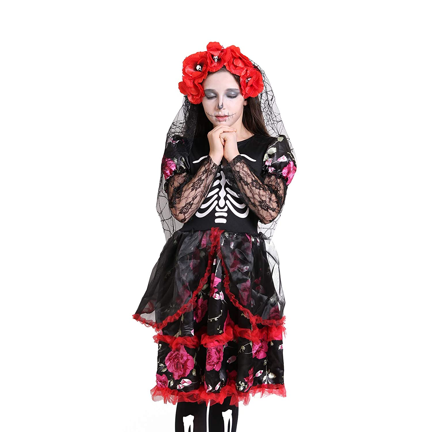 ea1a54bef7 Amazon.com  Girls Skeleton Costume Kids Halloween Zombie Bride Dress  Cosplay  Clothing