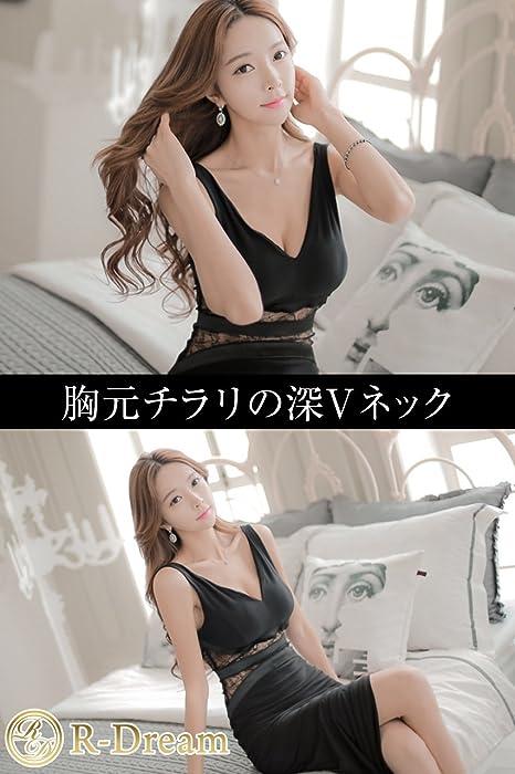 e8f3f0b5e7b42 (R-Dream) キャバドレス セクシー ボディコン ロング ドレス ワンピース ノースリーブ 黒 ブラック スリット