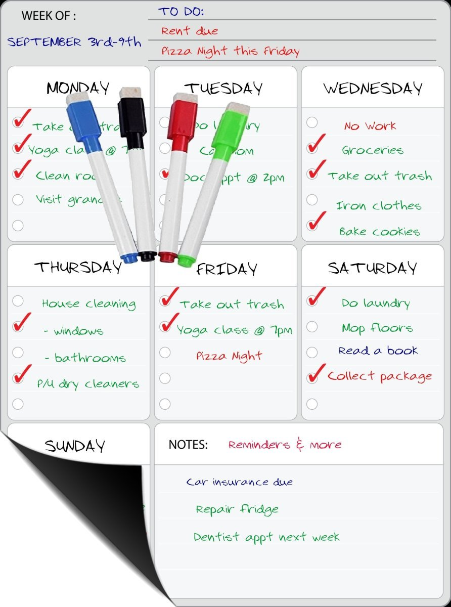 "'Smart Planner Weekly White Board Planner for your Refrigerator or Office 15"" x 11.75"" Inches ● with 4 Magnetic Color Dry Erase Markers! & Cloth Eraser (Weekly Planner)"