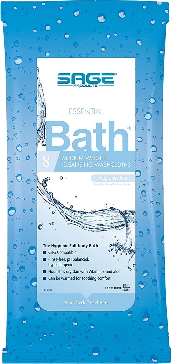 Fragrance-Free Essential Comfort Bath Cleansing Washcloths - Each (1 Package)