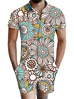URVIP Mens Printed One Piece Jumpsuit Short Sleeve Romper Overalls with Pocket