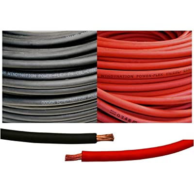 WindyNation 6 Gauge 6 AWG 5 Feet Black + 5 Feet Red Welding Battery Pure Copper Flexible Cable Wire - Car, Inverter, RV, Solar