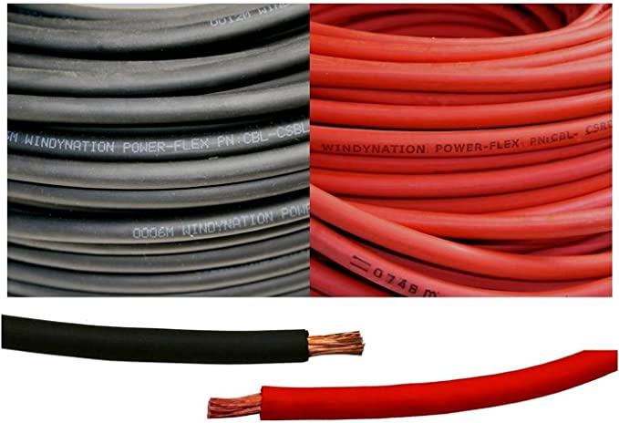 8 Gauge, Crimp Supply Ultra-Flexible Car Battery//Welding Cable 10 Feet Red//10 Feet Black - and 5 Copper Lugs