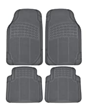 BDK MT-654-GR Heavy Duty 4pc Front and Rear Rubber Floor Mats for Car SUV Van and Truck All Weather Protection Universal Fit, Gray