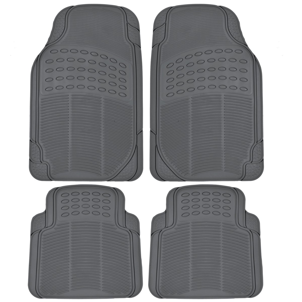 BDK MT654PLUS Heavy Duty 4pc Front & Rear Rubber Floor Mats for Car SUV Van & Truck - All Weather Protection Universal Fit (Gray)