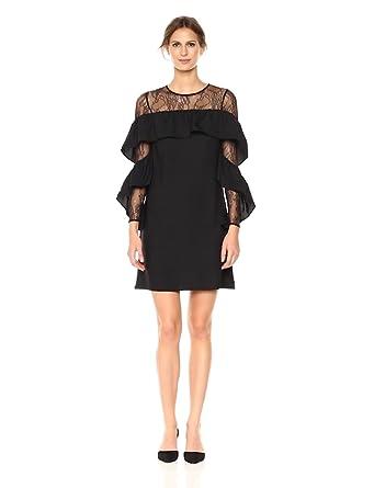 69c74a0a600 Nicole Miller New York Women s Long Ruffle Sleeve lace Yoke Shift Dress