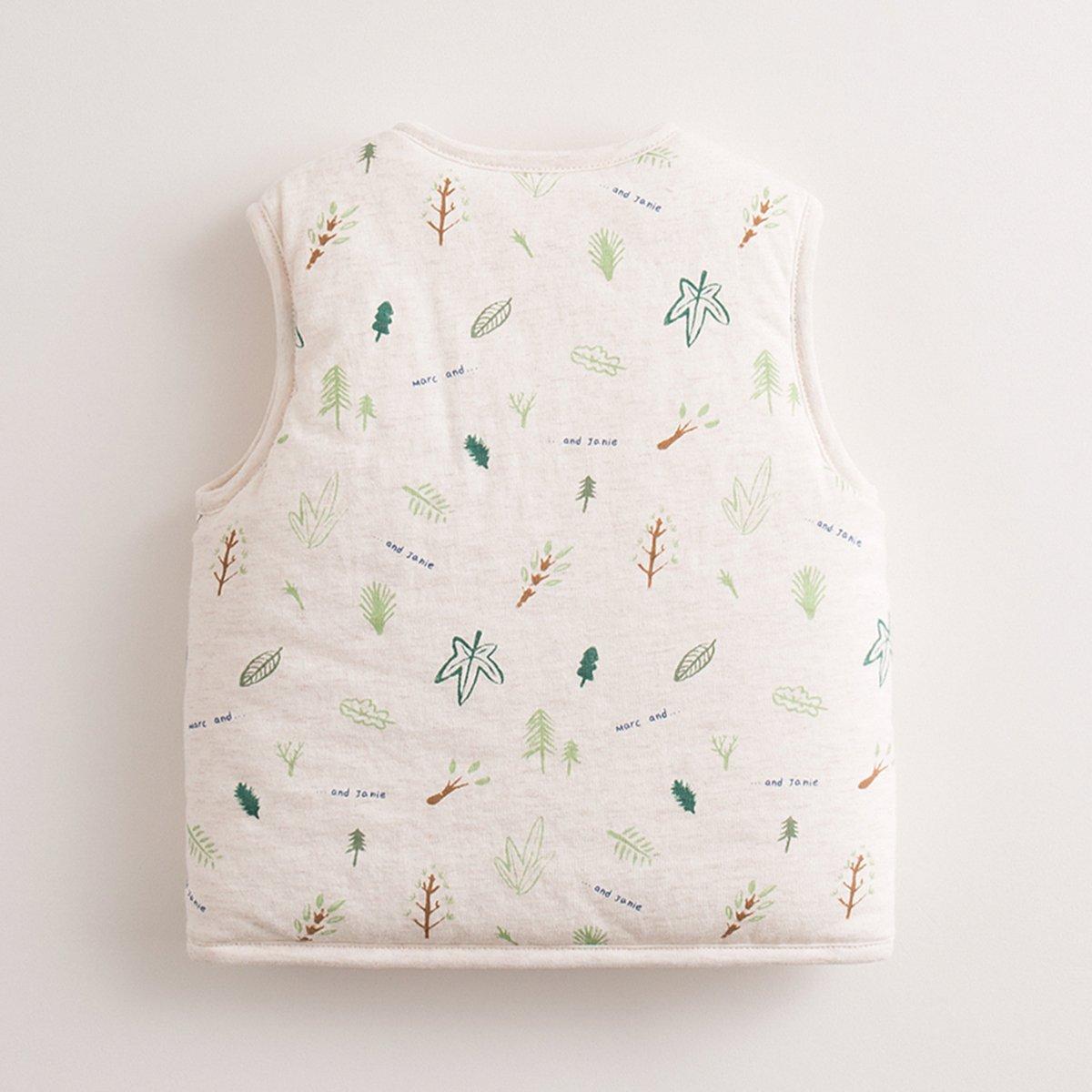 marc janie Baby Toddler Boys Girls Outerwear Warm Cartoon Pattern Print Vest Cotton-Padded Waistcoat