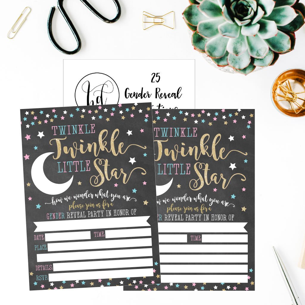 25 Twinkle Little Star Gender Reveal Baby Shower Party Invitation Cards Gold and Black He or She For Gender Neutral Unisex Invites Guess If It's a Boy or Girl Sprinkle Fill In The Blank Printable Pack by Hadley Designs (Image #3)
