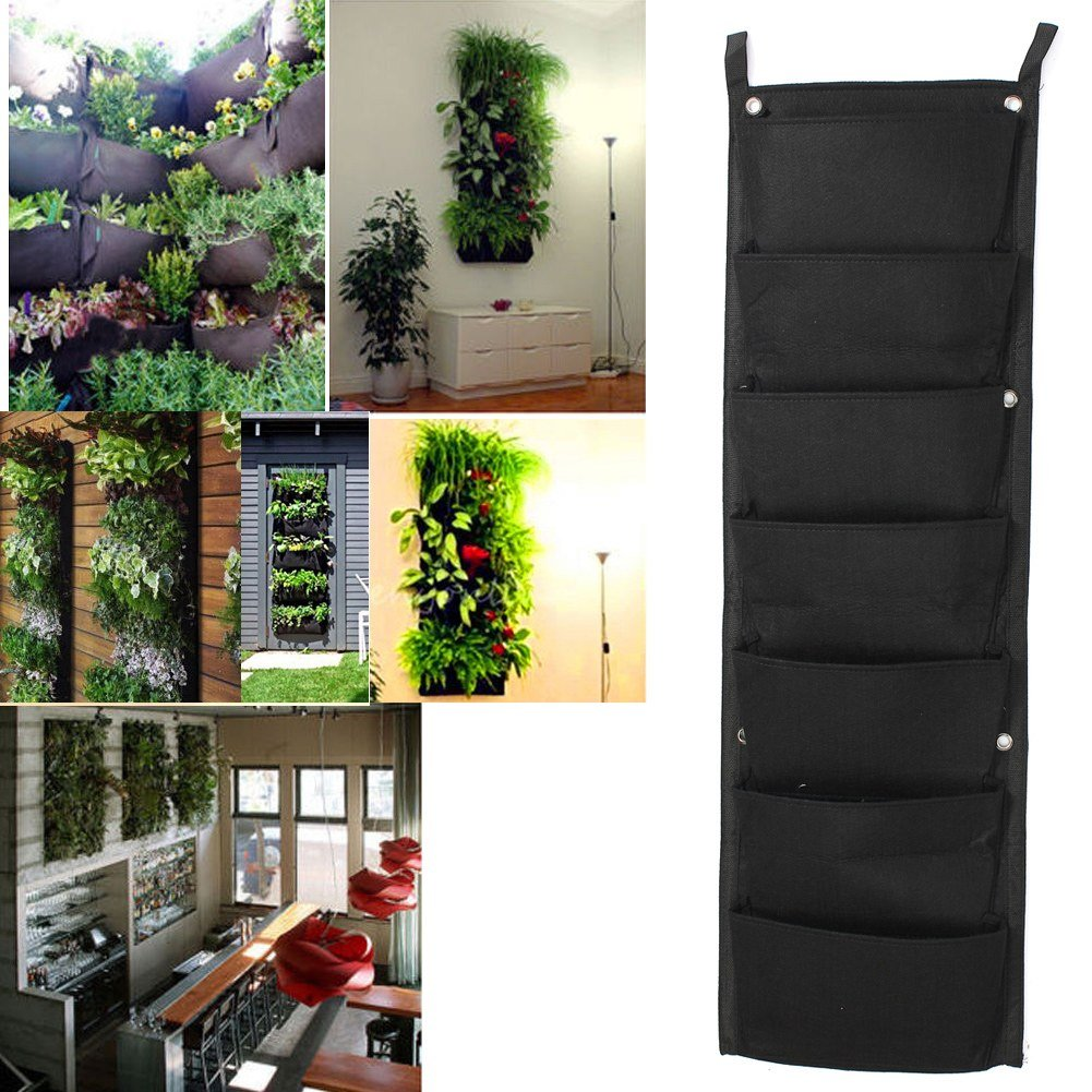 OriginA Grow Bag, Patio Flower Planter, Garden Planter, 12''-W x 40''-L Vegetable Container(Vertical 7 Pockets, Black)