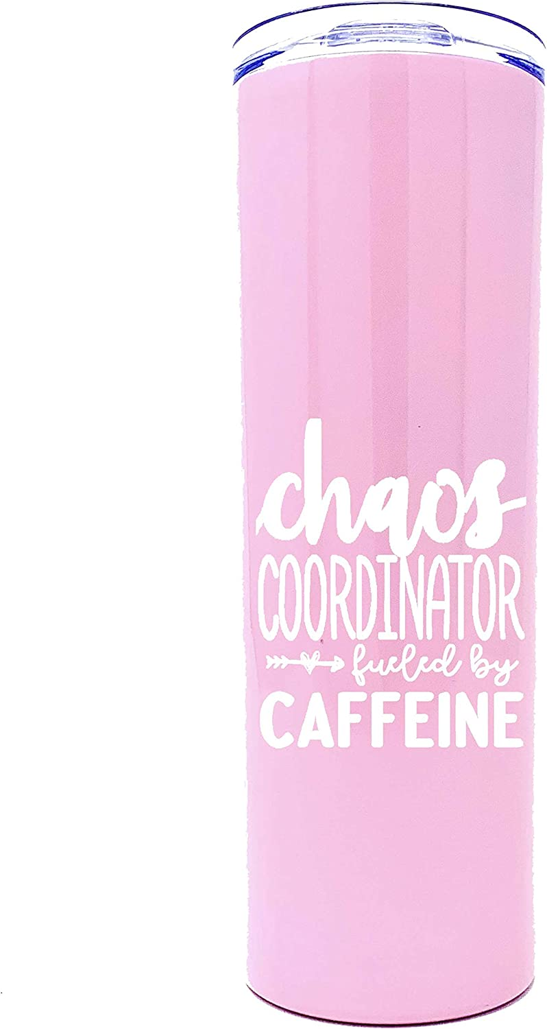 Cute, Fun, Unique Tumblers for Women - Double Walled Vacuum Sealed Stainless Steel 20 oz Tumbler - Great Gift for Women, Bosses, Coworkers, Mom, Wife (Chaos Coordinator Caffeine Pink)