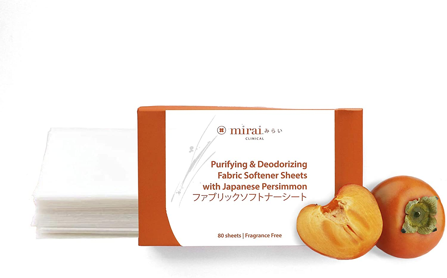 Purifying & Deodorizing Fabric Softener Dryer Sheet with Japanese Persimmon - 80 Sheets