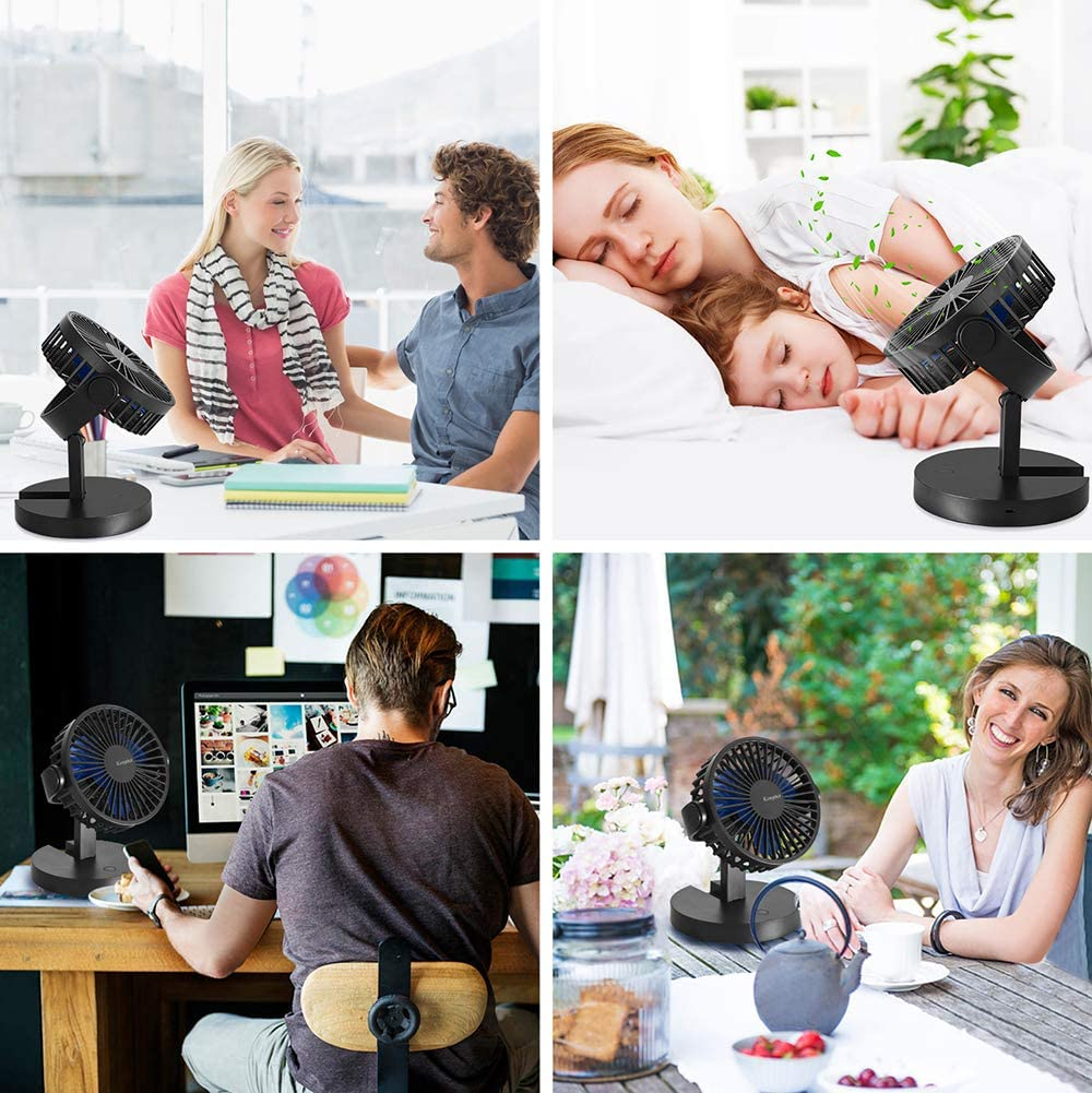 Black Komphot Battery Operated Fan Poratble Small Quiet USB Desktop Fan with Fold Strong Airflow 3 Speeds Personal Rechargeable Tabletop Fan for Office Home Travel Camping School