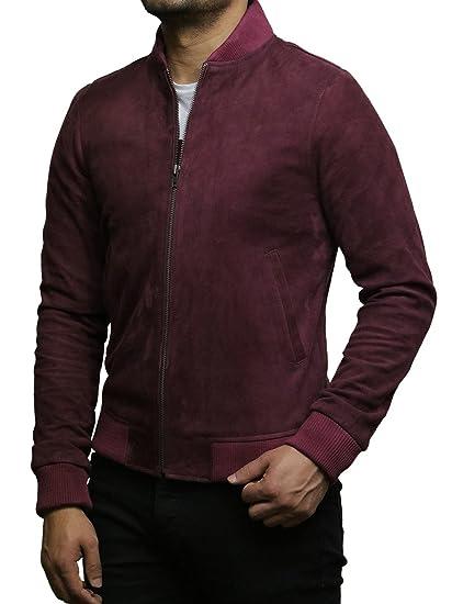 Brandslock Mens Genuine Leather Jacket Vintage Retro Goat Suede Varsity at Amazon Mens Clothing store: