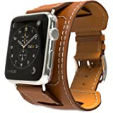 MoKo Band for Apple Watch Series 1 Series 2, Genuine Leather Smart Watch Band Cuff Strap Replacement for 42mm Apple Watch 2015 & 2016 All Models, BROWN (Not Fit 38mm Versions)
