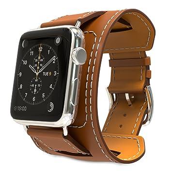 MoKo Correa para Apple Watch Series 5/4 / 3/2 / 1 42mm, Reemplazo SmartWatch Cuff Band de Reloj Cuero Auténtico Imitado Pulsera para Apple Watch 42mm, ...