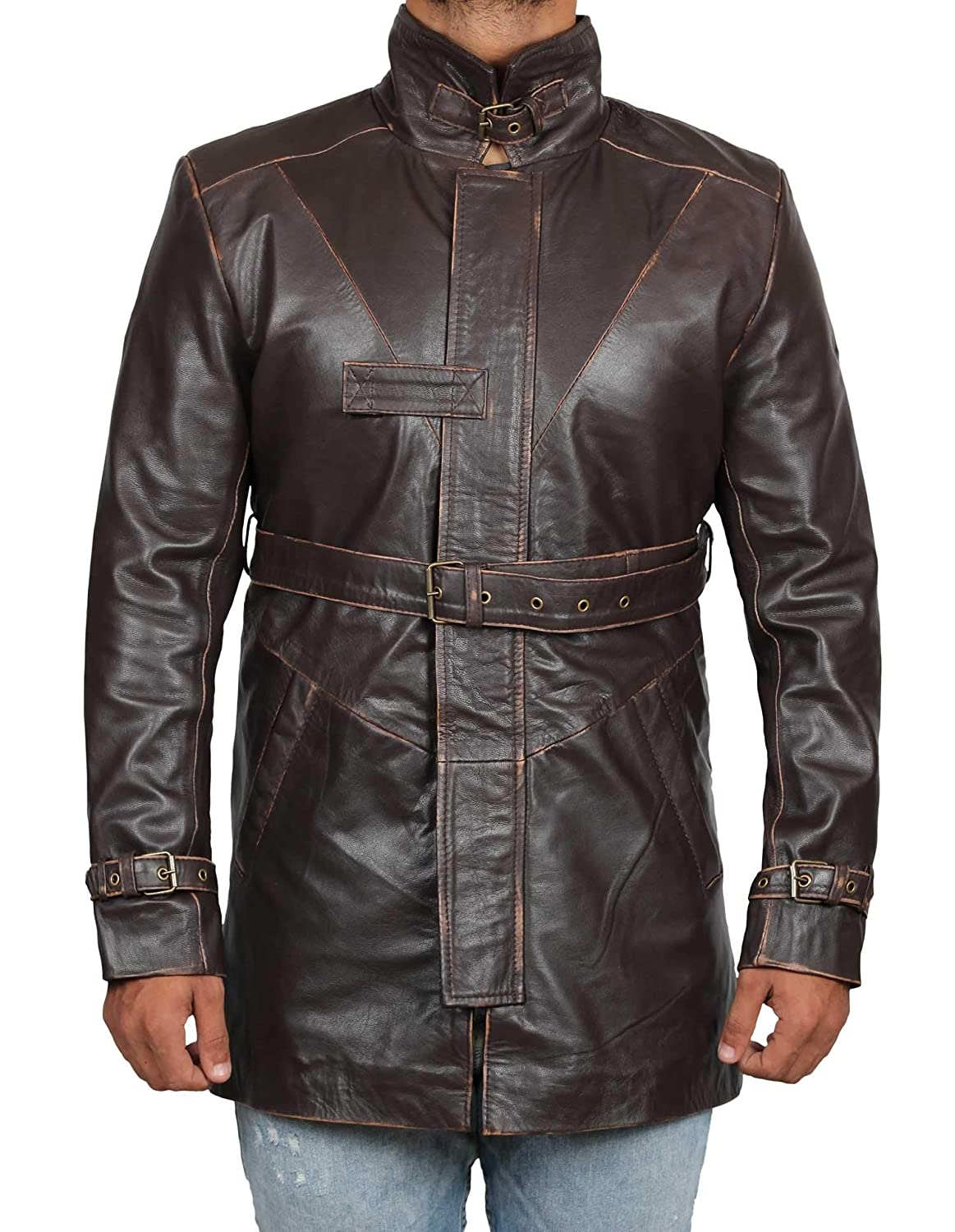 2b223a3582a7 Blingsoul Mens Leather Coat - Black and Brown Shearling Coats for Men at Amazon  Men's Clothing store: Athletic Apparel