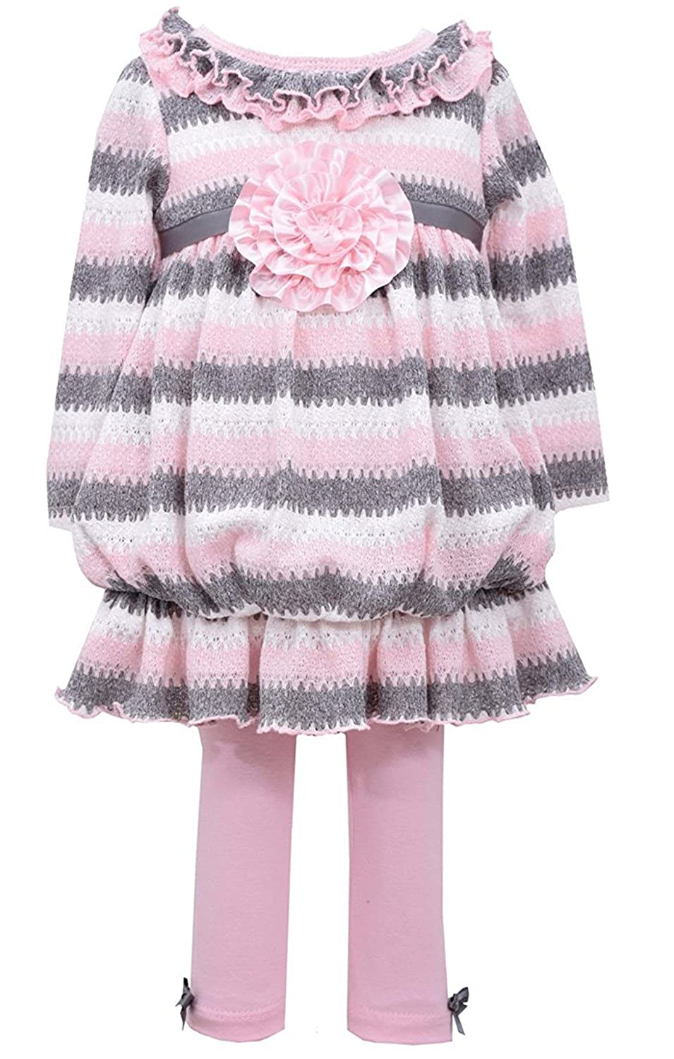 12m-4t Bonnie Jean Girls Pink and Grey Knit Top and Leggings