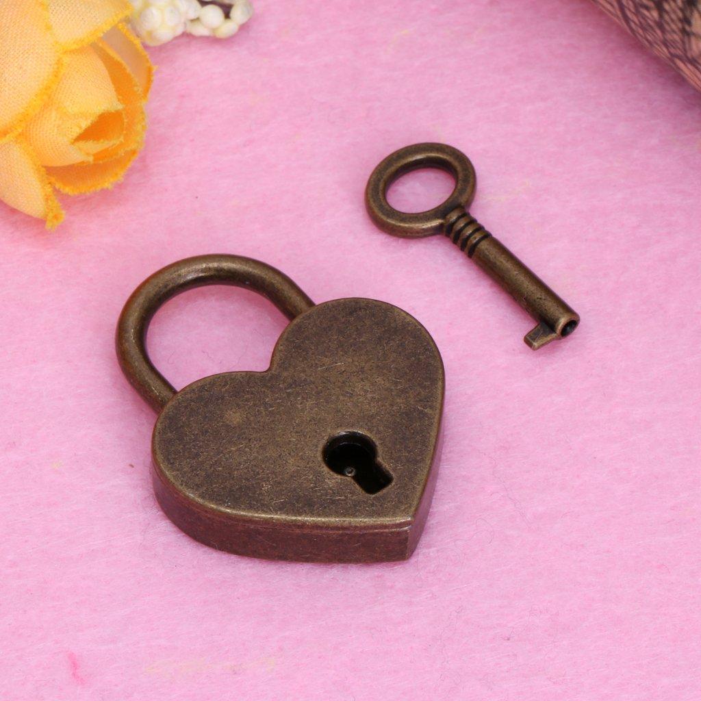 ECMQS forma Antico di cuore Mini Lucchetto di stile antico antico Archaize Lucchetto con chiave