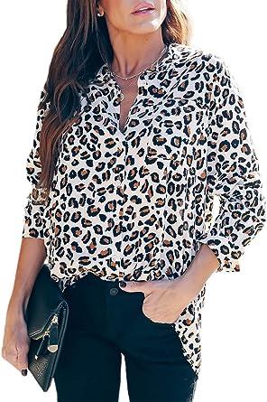 LOSRLY - Camiseta de manga larga con estampado de leopardo y ...