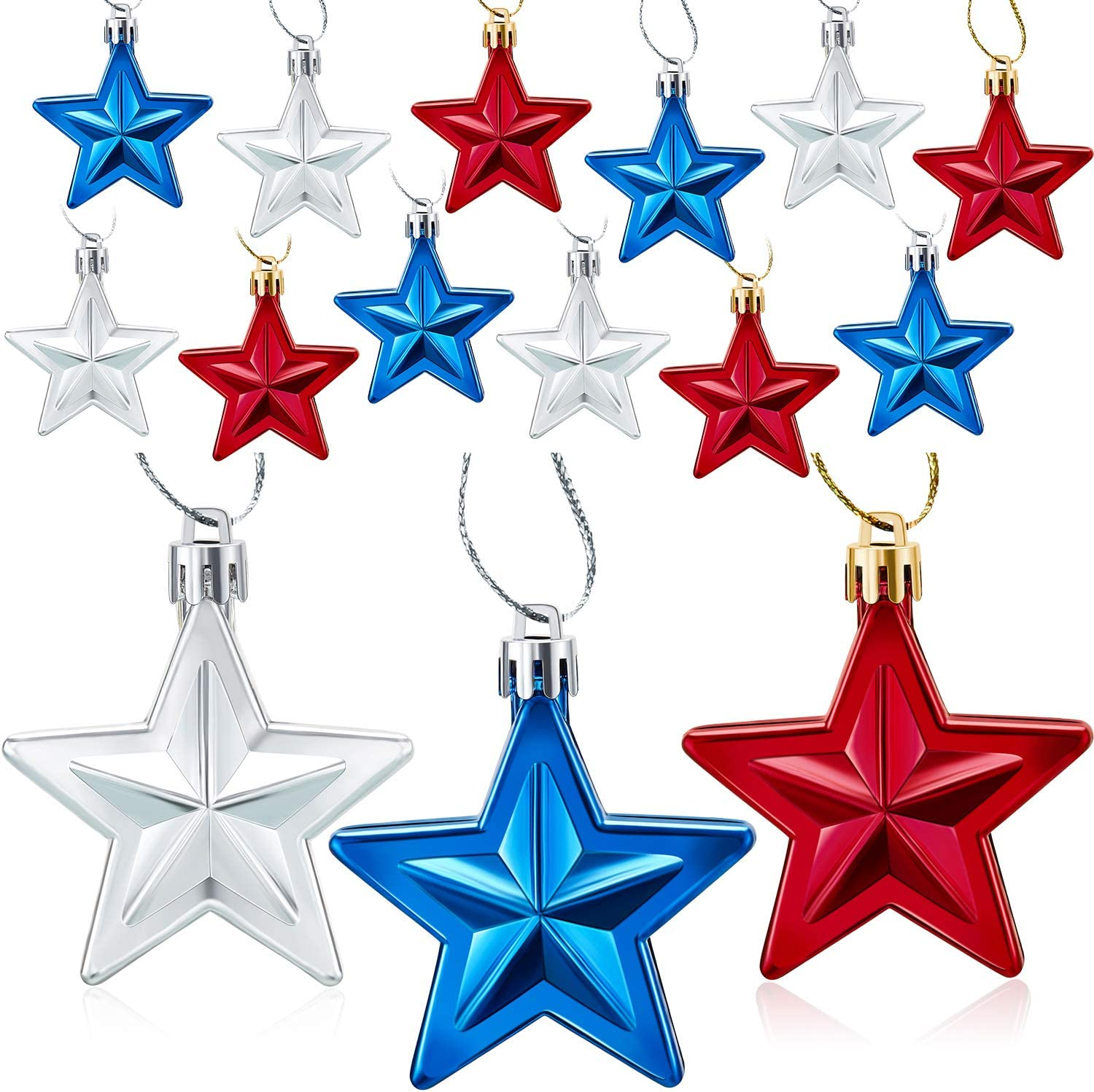 Boao 18 Pieces Hanging Star Flag Day Ornament Hanging Ornaments Patriotic 4th Of July Hanging Decorations For Indoor Outdoor Independence Day Labor Day Party Decor Blue Red And Silver Furniture Decor