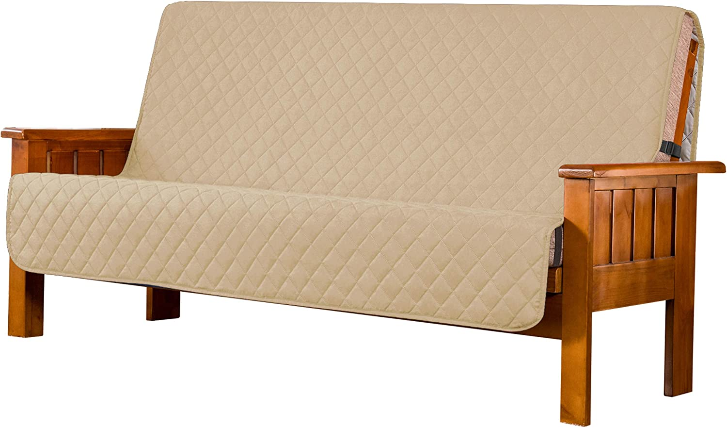 Subrtex Futon Slipcover Quilted Futon Cover Armless Sofa Slipcover Washable Furniture Protector for Futon Daybed Couch Slip Cover with Elastic Adjustable Strap for Pets and Kids (Sand)