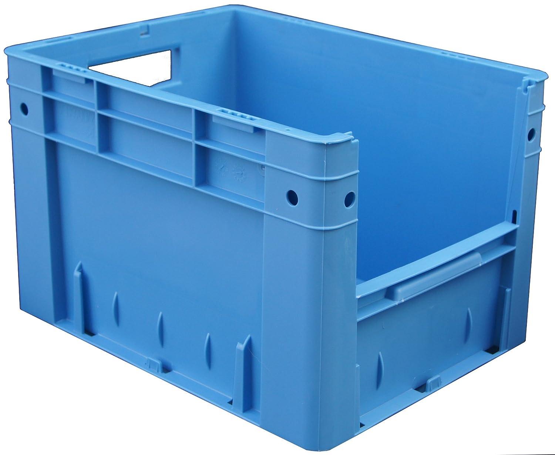 blau 600x400x420 mm 1 VE = 2 St/ück mit Eingriff/öffnung Euro-Sichtlagerbox//Lagerbeh/älter VTK 600//420-4 LxBxH