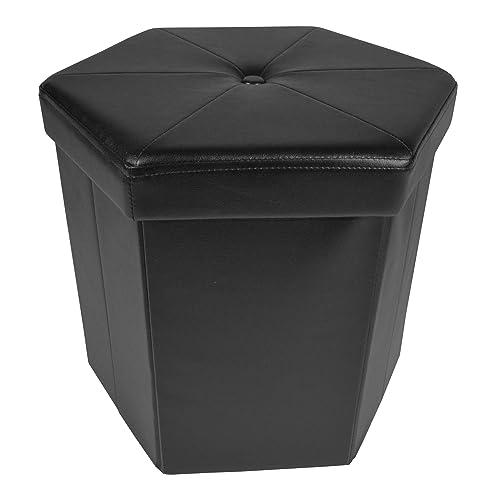 Achim Home Furnishings Collapsible Hexagon Storage Ottoman, 15 x 15 x 15 , Black Leather