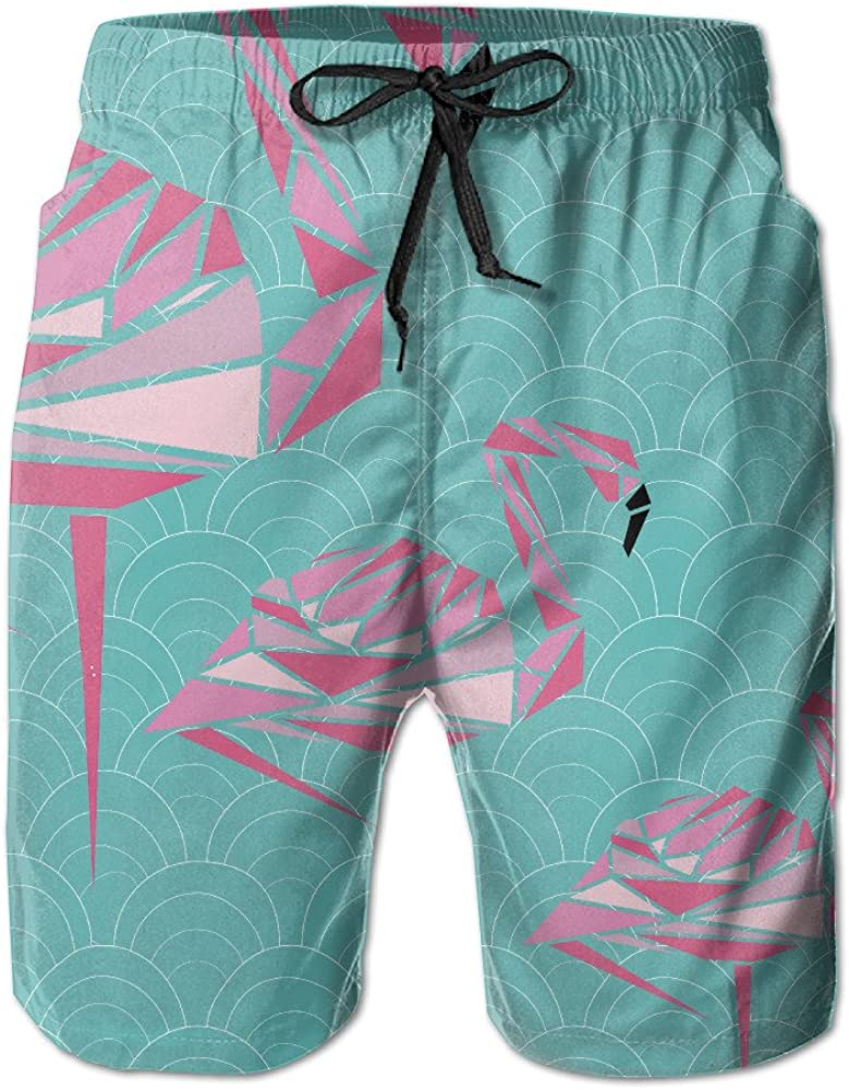Mens Pink Flamingo Quick Drying Ultra Light Swim Trunks