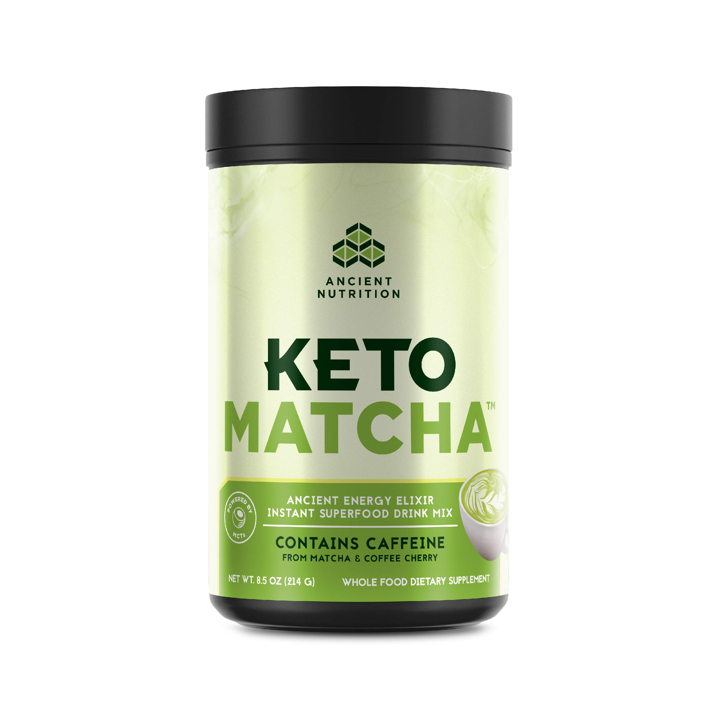 Ancient Nutrition KetoMATCHA Energy Elixir Powder, 20 Servings, Keto Diet Supplement, Hydrolyzed Collagen Peptides, MCTs from Coconut, Green Tea Leaf, Energy Booster