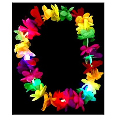 Flashing Panda LED Multi-Color Light-Up Flashing Hawaiian Lei Necklace String, Assorted Colors: Clothing
