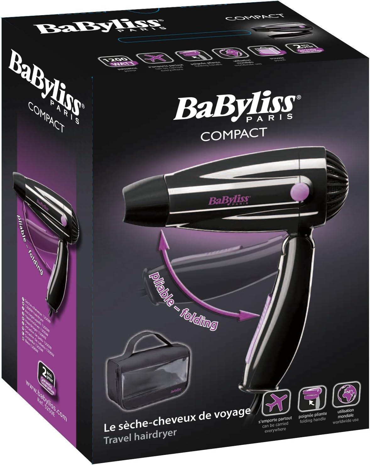Babyliss 5250E Sèche cheveux de Voyage Pliant: