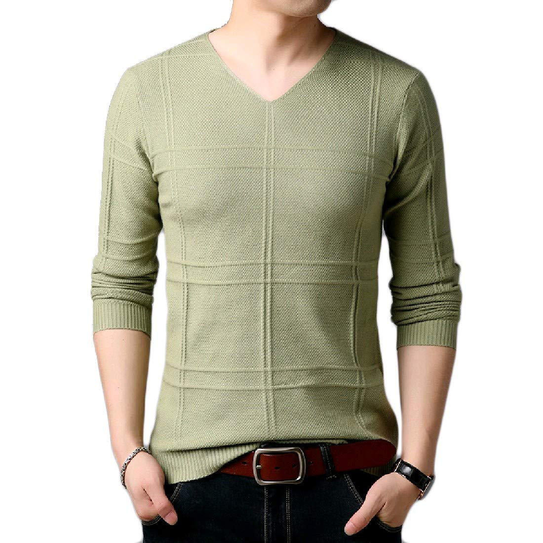 YUNY Mens Crewneck Leisure Business Oversize Pullovers Sweater 27 XL