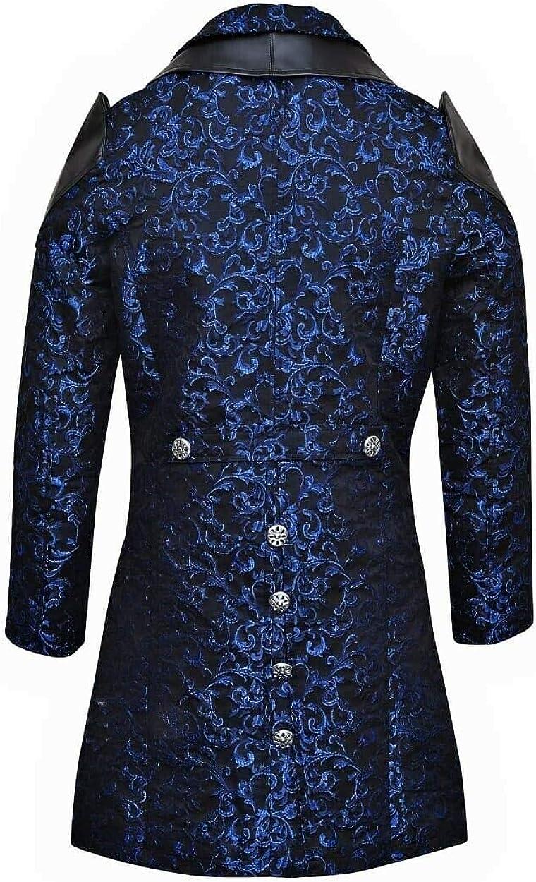 Mens Jacket Coat Blue Damask Gothic Steampunk VTG Aristocrat Regency