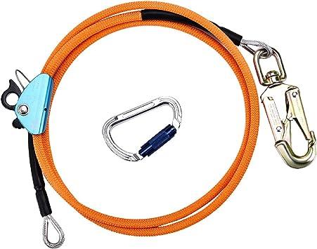 ETE ETMATE Cuerda de Escalada Kits de línea de tirón con núcleo de Alambre de Acero Cable Ajustable con mosquetón de Triple Bloqueo Apto para ...
