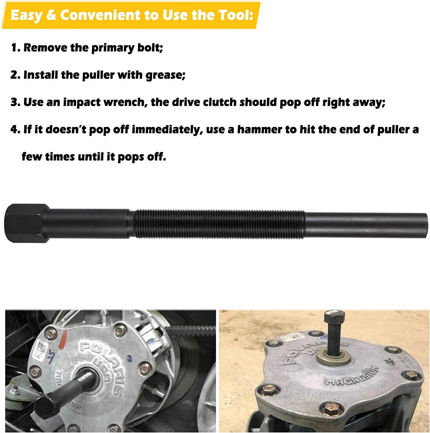 Similar to OEM #2870506 PP3078 15-878 30260 Primary Drive Clutch Puller Remover Tool Fits for Polaris All Models Including Ranger//RZR//Sportsman//General//Scrambler 1985-2016