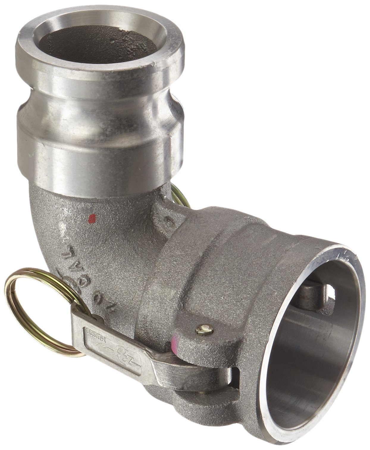 PT Coupling CAL Series 20CAL Aluminum Cam and Groove Hose Fitting, 90 Degree Elbow, Stainless Steel 300 (HBS) Cam Arms, 2'' Coupler x Adapter
