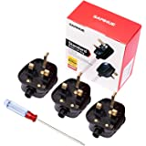 SAMHUE UK 3 Pin 13A Fused Mains Plugs For Security Lights Floodlights pack of 3