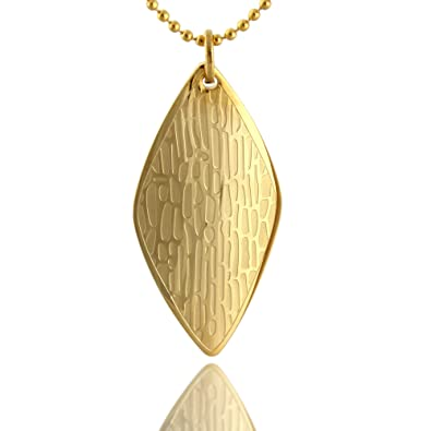 18 inch Chain Gold Plated 316L Stainless Tree Bark Design Textured Diamond Shaped Pendant Necklace