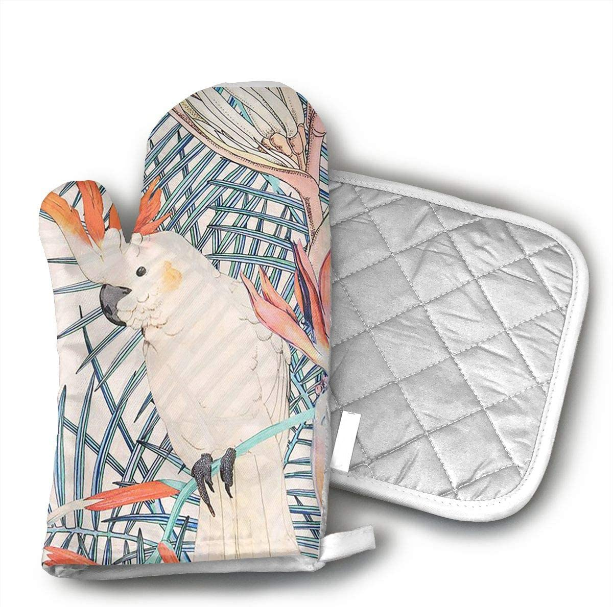 TRENDCAT Colorful Parrot Oven Mitts and Potholders (2-Piece Sets) - Extra Long Professional Heat Resistant Pot Holder & Baking Gloves - Food Safe