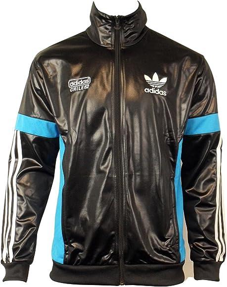 Mens Chile 62 TT Black Track Suit Top Jacket Retro Wet Look TT1