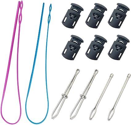 Joycoco 2 Pieces Drawstring Threader Flexible Easy Threader Needle Drawstring Replacement Tools Rose Red 6pcs Set