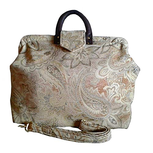 8061c84c6849 Amazon.com  Tapestry Carpet Bag. Gold Pearl Paisley Chenille. Detachable  Shoulder Strap. Great Weekender or Carry On – SALE!! 40% OFF  Handmade