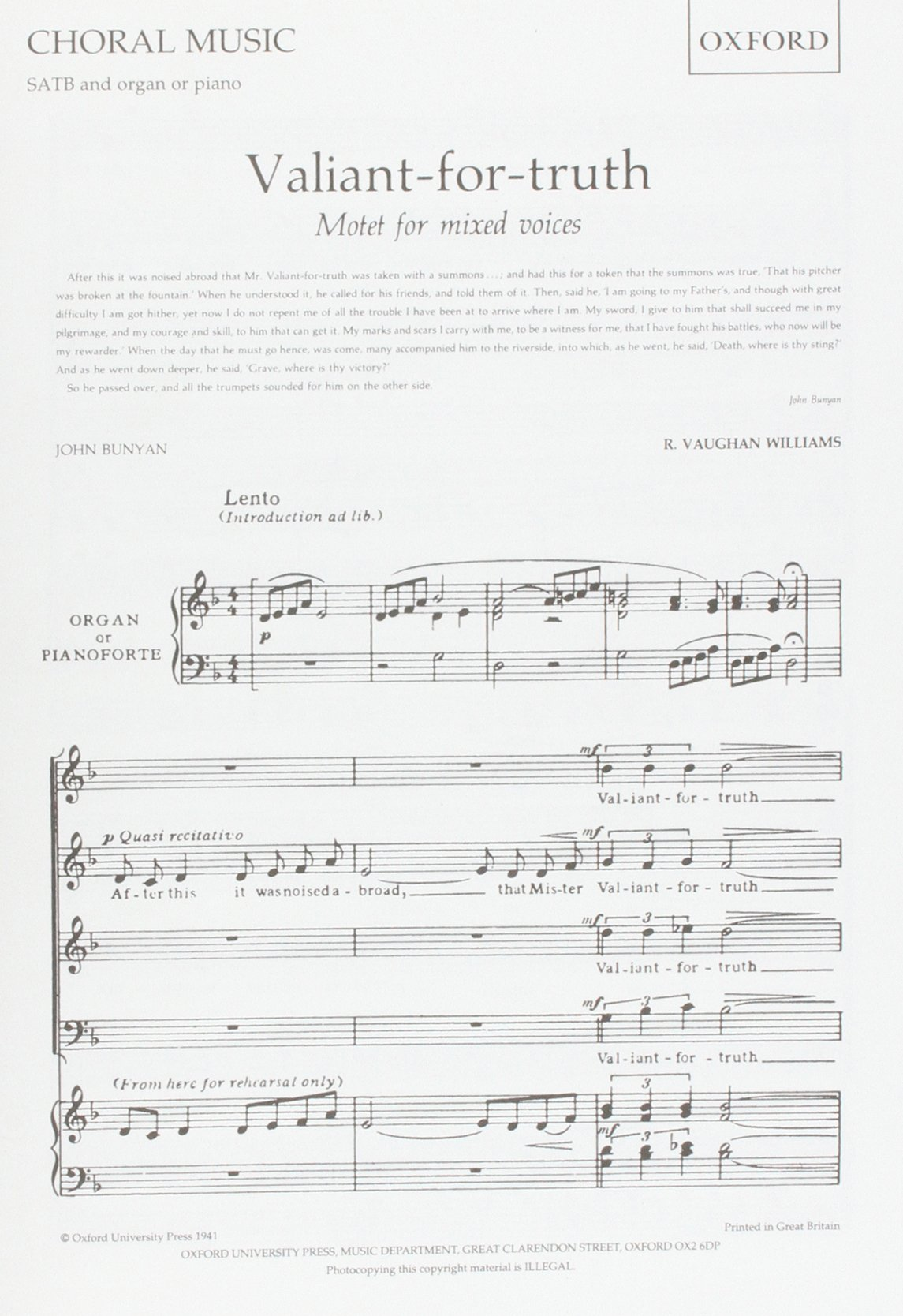 Valiant-for-truth: Vocal score